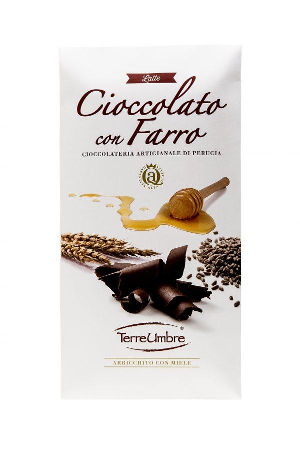 Tavoletta di cioccolato al latte con farro. Contiene: cacao 33% minimo, zucchero, latte intero in polvere, burro di cacao, farro soffiato (3.5%), lecitina di soia, aroma naturale alla vaniglia.