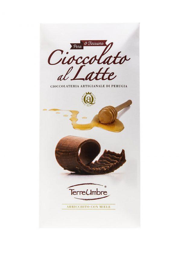 Tavoletta di puro cioccolato finissimo al latte. Senza olio di palma, con l'aggiunta di miele.